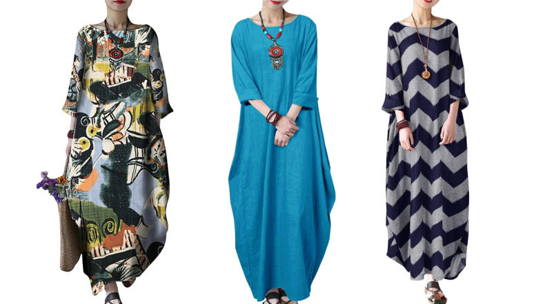 Celmia Autumn Solid Loose Long Caftan (Photo: Amazon)