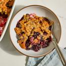 <p>This warm, bright and sweet blackberry crisp is lightly flavored with lime and ginger. The fresh blackberries bubble into a thick and saucy filling, and the buttery crumble topping melts in your mouth.</p>