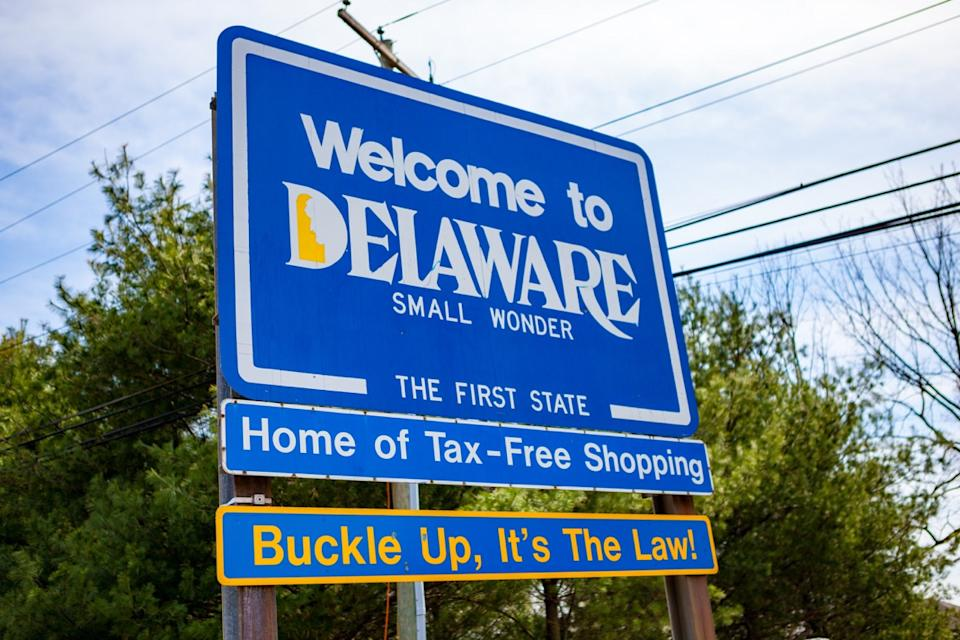 delware state welcome sign