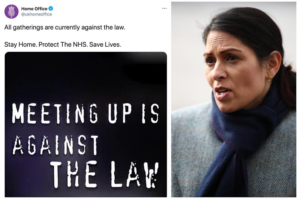 Priti Patel's Home Office has been accused of 'grossly misstating the law' by tweeting 'all gatherings are illegal'. (Twitter/Getty Images)