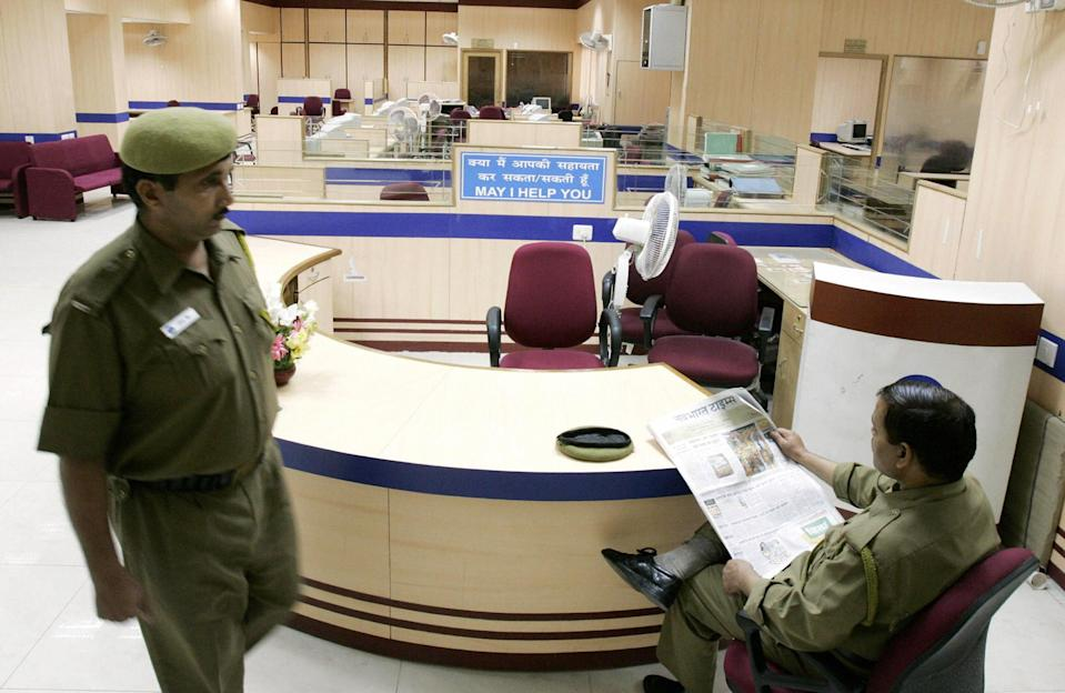 Representative image: A government bank in India. The robbery took place in Union Bank of India in Delhi on Sunday (AFP via Getty Images)