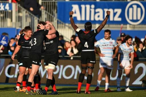 Saracens players had somethging to celebrate after they beat Racing 92