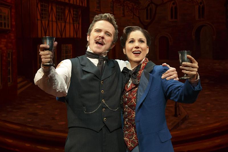 """This theater image released by Boneau-Bryan/Brown shows Will Chase, left, and Stephanie J. Block in a scene from """"The Mystery of Edwin Drood,"""" playing at the Roundabout Theatre Company at Studio 54 in New York. (AP Photo/Boneau-Bryan/Brown, Joan Marcus)"""