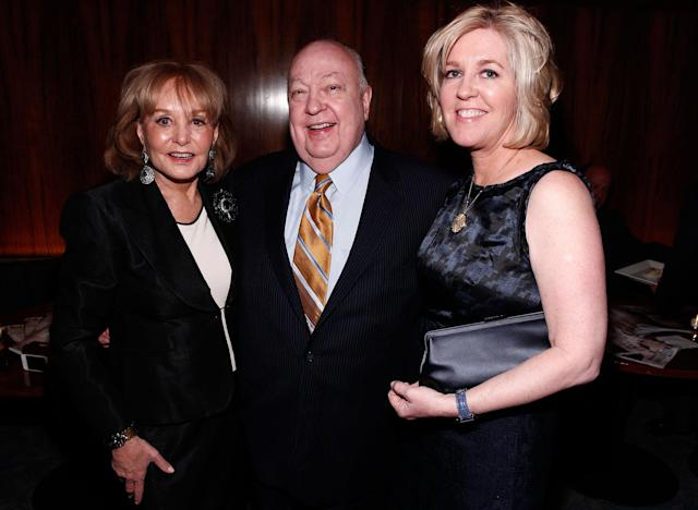 <p>Barbara Walters, left, Roger Ailes and his wife, Elizabeth Tilson Ailes, are seen at the Hollywood Reporter 35 Most Powerful People in Media event on April 11, 2012, in New York. (Photo: Brian Ach/AP for The Hollywood Reporter) </p>