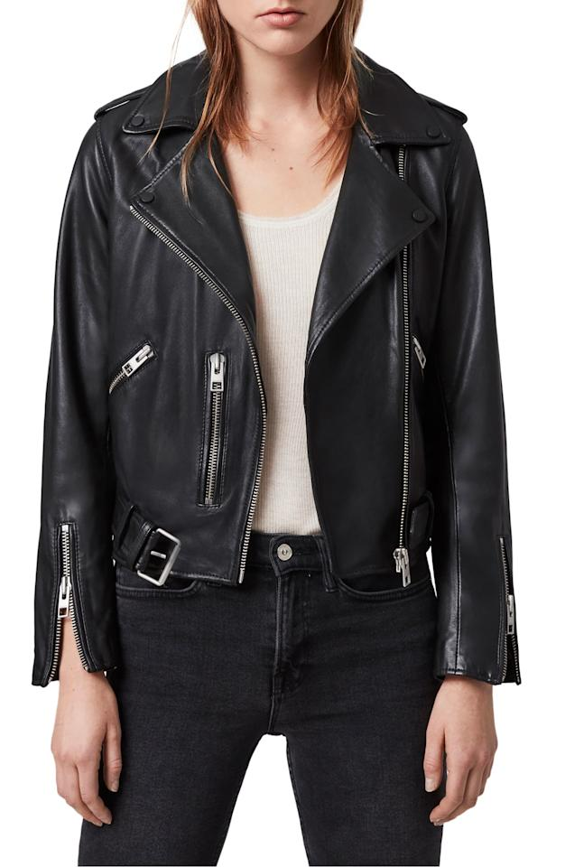 """<p>This <a href=""""https://www.popsugar.com/buy/ALLSAINTS-Balfern-Leather-Biker-Jacket-537944?p_name=ALLSAINTS%20Balfern%20Leather%20Biker%20Jacket&retailer=shop.nordstrom.com&pid=537944&price=498&evar1=fab%3Aus&evar9=45205511&evar98=https%3A%2F%2Fwww.popsugar.com%2Fphoto-gallery%2F45205511%2Fimage%2F47083101%2FALLSAINTS-Balfern-Leather-Biker-Jacket&list1=shopping%2Cfall%20fashion%2Ccoats%2Cfall%2Cjackets%2Cleather%20jackets%2Cwinter%20fashion&prop13=api&pdata=1"""" rel=""""nofollow"""" data-shoppable-link=""""1"""" target=""""_blank"""" class=""""ga-track"""" data-ga-category=""""Related"""" data-ga-label=""""https://shop.nordstrom.com/s/allsaints-balfern-leather-biker-jacket/5467855/full?origin=category-personalizedsort&amp;breadcrumb=Home%2FWomen%2FClothing%2FCoats%2C%20Jackets%20%26%20Blazers%2FLeather%20%26%20Faux%20Leather&amp;color=black"""" data-ga-action=""""In-Line Links"""">ALLSAINTS Balfern Leather Biker Jacket </a> ($498) is one of the best options out there - it's a great investment.</p>"""