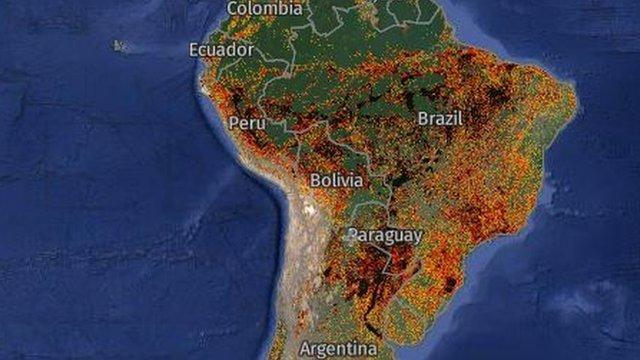 Incendios captados en América del Sur por Global Forest Watch.