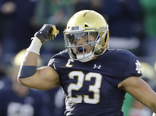 Drue Tranquill and the Notre Dame defense have a big task on their hands in stopping the Clemson offense. (AP)