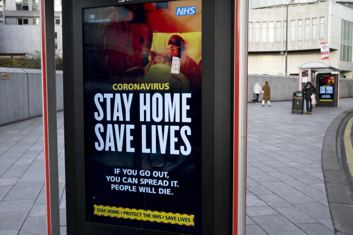 HM Government, and NHS advice boards for people to not go out, minimise contact, stay at home and save lives during the third national coronavirus lockdown in Birmingham city centre, which is deserted apart from a few people on 12th January 2021 in Birmingham, United Kingdom. Following the recent surge in cases including the new variant of Covid-19, this nationwide lockdown, which is an effective Tier Five, came into operation yesterday, with all citizens to follow the message to stay at home, protect the NHS and save lives. (photo by Mike Kemp/In Pictures via Getty Images)