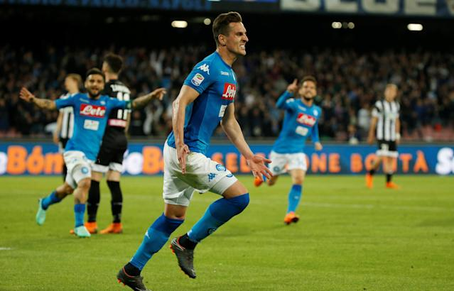 Soccer Football - Serie A - Napoli vs Udinese Calcio - Stadio San Paolo, Naples, Italy - April 18, 2018 Napoli's Arkadiusz Milik celebrates scoring their third goal REUTERS/Ciro De Luca