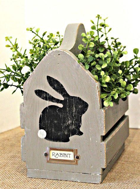 """<p>Some chalk paint, a little sandpaper, and a rabbit stencil can transform an old wooden basket into an Easter-themed planter. Just add any faux or real greens!</p><p><em><a href=""""https://www.organizedclutter.net/2017/03/two-thrift-shop-finds-become-easter.html"""" rel=""""nofollow noopener"""" target=""""_blank"""" data-ylk=""""slk:Get the tutorial at Organized Clutter »"""" class=""""link rapid-noclick-resp"""">Get the tutorial at Organized Clutter »</a></em></p>"""