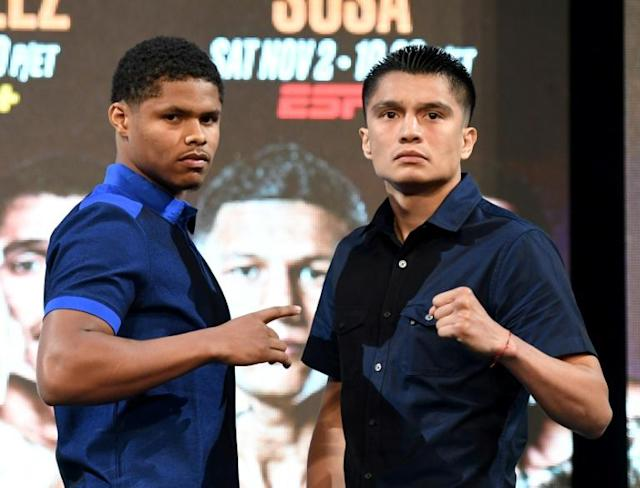Shakur Stevenson (L) beat Joet Gonzalez by a unanimous decision in a 125 pound grudge match (AFP Photo/Ethan Miller)