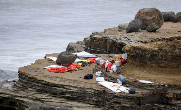 PHOTO: Items from a boat sit on the shoreline at Cabrillo National Monument near where it capsized just off the San Diego coast, May 2, 2021, in San Diego. (Denis Poroy/AP)