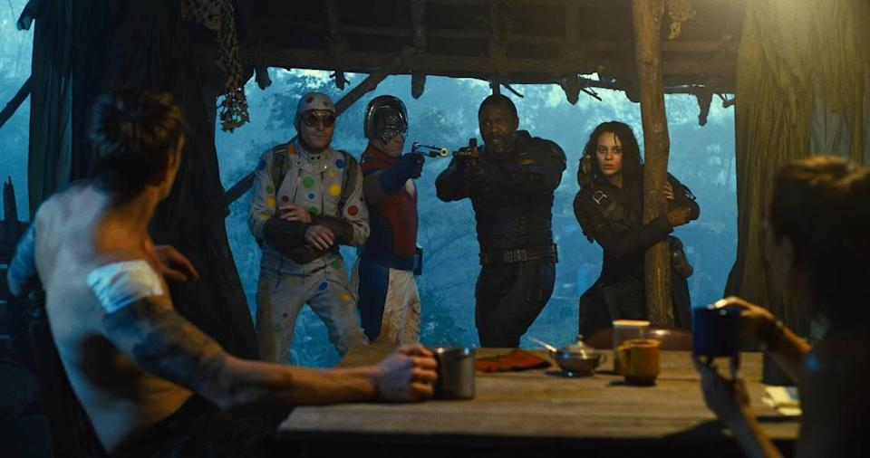 """On a mission to a fictional South American island in """"The Suicide Squad,"""" from left: Joel Kinnaman as Colonel Rick Flag, David Dastmalchian as Polka-Dot Man, John Cena as Peacemaker, Idris Elba as Bloodsport and Daniela Melchior as Ratcatcher 2."""