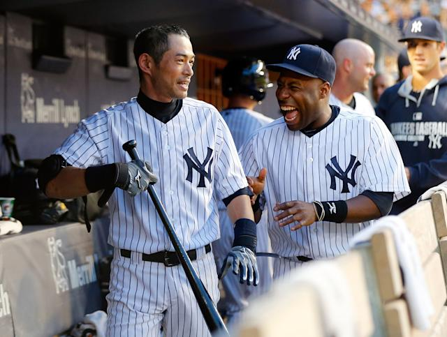 Ichiro makes lot of guys laugh, including Yankees teammate Zelous Wheeler (Getty Images)