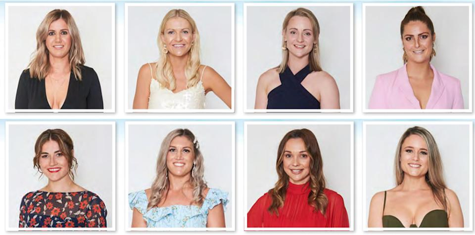 Farmer Andrew's ladies are (top row L-R): Melissa, 30, Rachael, 30, Tara, 26, Natalie, 27, and (bottom row L-R): Jess, 27, Ash, 28, Caity, 26, Lucy, 30. Photo: Channel 7 (supplied).