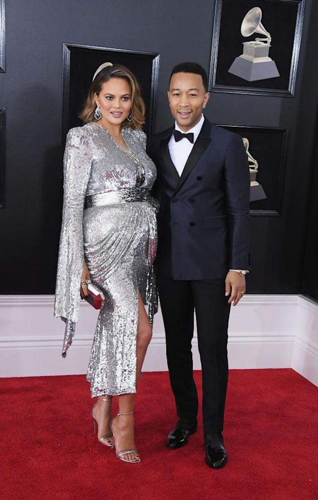 <p>Chrissy Teigen and recording artist John Legend attend the 60th Annual Grammy Awards at Madison Square Garden in New York on Jan. 28, 2018. (Photo: John Shearer/Getty Images) </p>