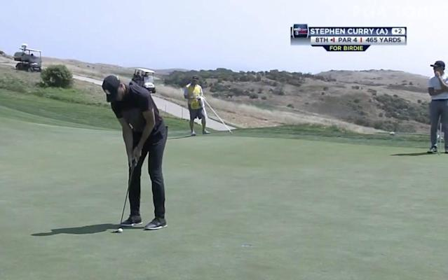 """<div class=""""caption""""> <a class=""""link rapid-noclick-resp"""" href=""""/nba/players/4612/"""" data-ylk=""""slk:Stephen Curry"""">Stephen Curry</a> lines up short birdie putt on his 17th hole in the Ellie Mae Classic at the TPC Stonebrae (Screenshot from the Web.com Tour Periscope coverage) </div>"""