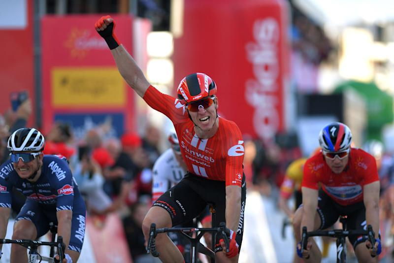 TAVIRA PORTUGAL FEBRUARY 21 Arrival Cees Bol of The Netherlands and Team Sunweb Celebration Fabio Jakobsen of The Netherlands and Team Deceuninck Quick Step Red Points Jersey during the 46th Volta ao Algarve 2020 Stage 3 a 2019Km stage from Faro to Tavira VAlgarve2020 on February 21 2020 in Tavira Portugal Photo by Tim de WaeleGetty Images