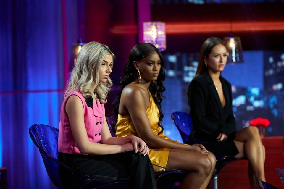 "From Matt James' Season 25 ""Bachelor: Women Tell All"" special airing March 1, 2021, on ABC (L-R): Kit, Khaylah and Abigail."
