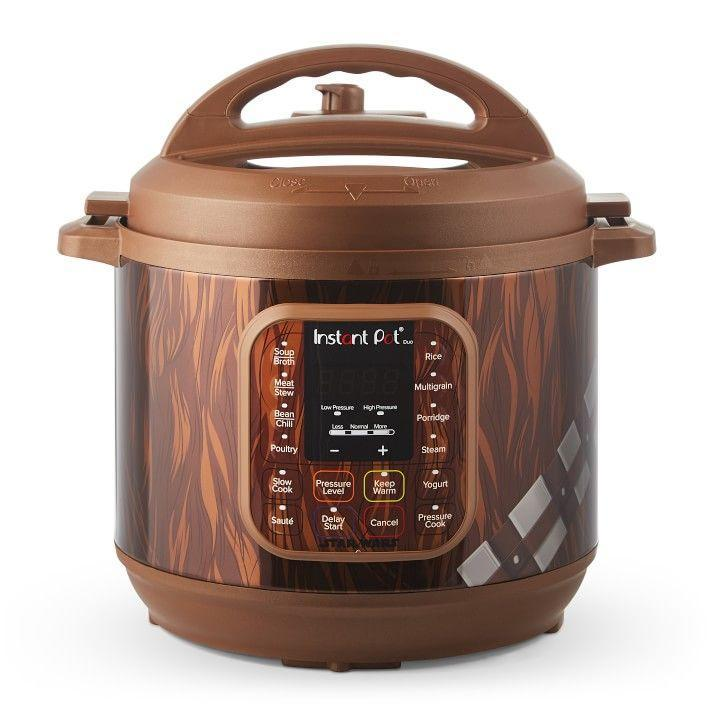 """<p>williams-sonoma.com</p><p><strong>$99.98</strong></p><p><a href=""""https://go.redirectingat.com?id=74968X1596630&url=https%3A%2F%2Fwww.williams-sonoma.com%2Fproducts%2Finstant-pot-duo-star-wars-8-qt-pressure-cooker-chewbacca&sref=https%3A%2F%2Fwww.delish.com%2Fkitchen-tools%2Fcookware-reviews%2Fg29568867%2Fstar-wars-gifts%2F"""" rel=""""nofollow noopener"""" target=""""_blank"""" data-ylk=""""slk:BUY NOW"""" class=""""link rapid-noclick-resp"""">BUY NOW</a></p><p>You can make almost anything in the universe in an Instant Pot. This kitchen gadget slow cooks, pressure cooks, and sautés. At Williams-Sonoma, you can take your pick from five different <em>Star Wars</em> Instant Pot designs, including Chewbacca, R2-D2, BB-8, Darth Vader, and Stormtrooper.</p>"""