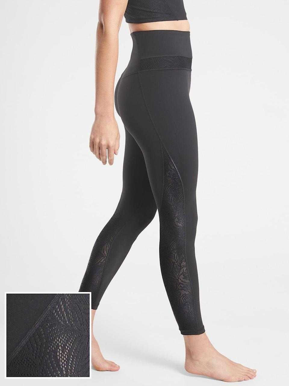 <p>We love the buttery-soft fabric and pretty detailing on the <span>Athleta Luxe Lace 7/8 Tight</span> ($80, originally $98) no matter the exercise you're getting.</p>