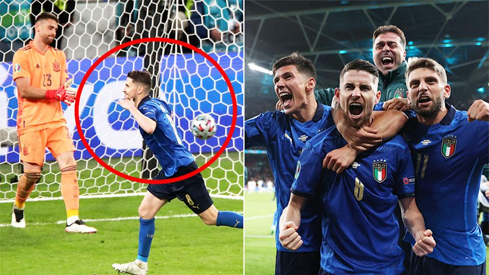 Jorginho (pictured left) scoring a penalty in the shoot-out and (pictured) right the Italians celebrating the win against Spain at Euro 2020.