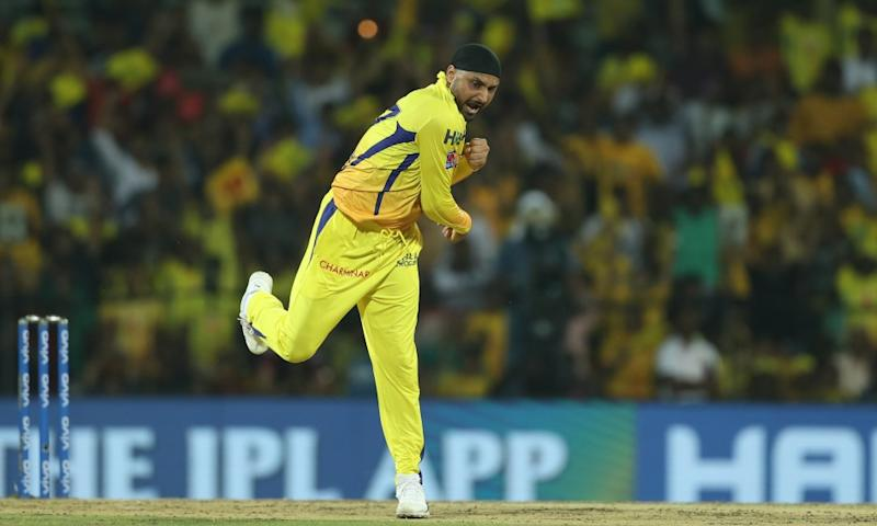 Harbhajan Singh of Chennai Super Kings celebrates the wicket of AB de Villiers of Royal Challengers Bangalore during match 1 of the Vivo Indian Premier League Season 12, 2019 between the Chennai Superkings and the Royal Challengers Bangalore held at the M. A. Chidambaram Stadium in Chennai, Tamil Nadu on the 23rd March 2019 Photo by Saikat Das /SPORTZPICS for IPL