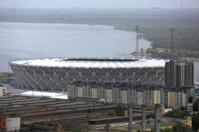 This photo taken on Tuesday, May 8, 2018, shows view on the new the World Cup stadium in Volgograd, Russia. The stadium will hold group-stage games at the World Cup. Several of Russias 12 World Cup stadiums look set to be largely empty after the tournament. Its a problem for Russia, which is spending almost $11 billion on the World Cup, and for FIFA. Fans and officials predict more government money will be needed to maintain several stadiums set to host mostly unglamorous lower-league games. (AP Photo/Dmitriy Rogulin)