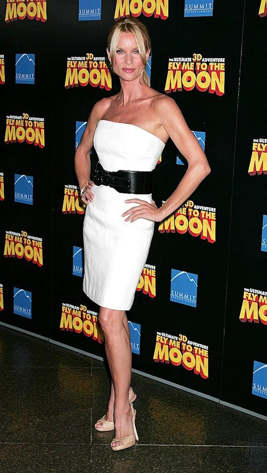 "Nicollette Sheridan impressed us as she posed in this belted white dress at the premiere of ""Fly Me to the Moon."" David Livingston/ GettyImages.com - August 3, 2008"
