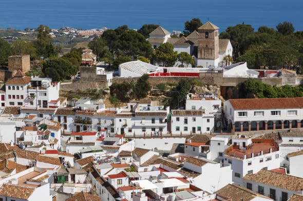 Mijas, Costa del Sol, Malaga Province, Andalusia, southern Spain.  Typical whitewashed mountain town.  Popular tourist visit.  O