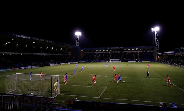 "Soccer Football - League One - Gillingham vs Milton Keynes Dons - MEMS Priestfield Stadium, Gillingham, Britain - March 29, 2018 General View during the game Action Images/Peter Cziborra EDITORIAL USE ONLY. No use with unauthorized audio, video, data, fixture lists, club/league logos or ""live"" services. Online in-match use limited to 75 images, no video emulation. No use in betting, games or single club/league/player publications. Please contact your account representative for further details."