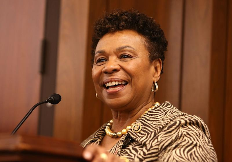 Rep. Barbara Lee (D-CA) accepts the Elizabeth Taylor Legislative Leadership Award at the AIDSWatch 2016 Positive Leadership Award Reception in February 2016 in Washington, DC. (Paul Morigi/Getty Images for The Elizabeth Taylor AIDS Foundation)