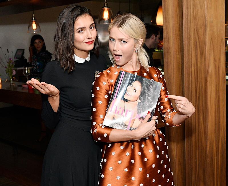 Julianne Hough celebrates Nina Dobrev at the Nina Dobrev celebrates the <em>harper by Harper's Bazaar</em> September Issue event at Rosaline in West Hollywood on Aug 22.