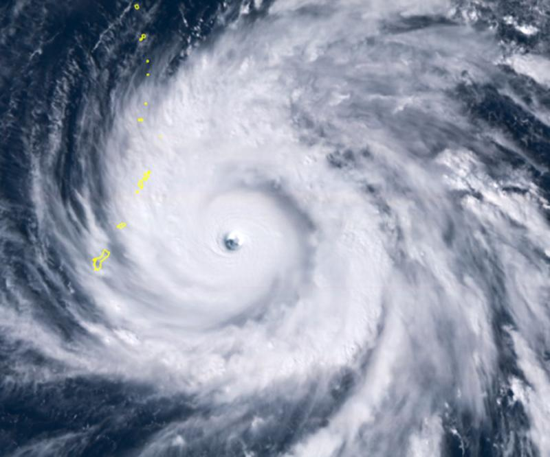 A satellite image shows Typhoon Yutu east of Guam, set to cross over the U.S. commonwealth of the Northern Mariana Islands with damaging winds. (Photo: ASSOCIATED PRESS)
