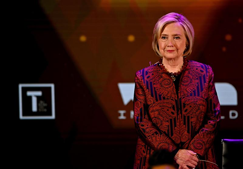 NEW YORK, NEW YORK - APRIL 12: Hillary Clinton speaks during the 10th Anniversary Women In The World Summit at David H. Koch Theater at Lincoln Center on April 12, 2019 in New York City. (Photo by Mike Coppola/Getty Images)