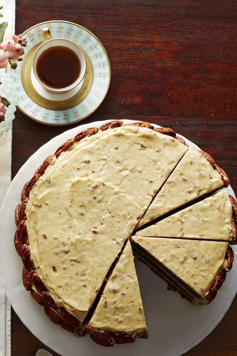 """<p>Gooey chocolate, creamy pumpkin frosting and crunchy pecans make this a more sophisticated sweet for your Halloween soirée.</p><p><em><a href=""""https://www.goodhousekeeping.com/food-recipes/a16154/chocolate-brown-sugar-butter-cake-spiced-pumpkin-frosting-recipe-clx1114/"""" rel=""""nofollow noopener"""" target=""""_blank"""" data-ylk=""""slk:Get the recipe for Chocolate Brown Sugar Butter Cake with Spiced Pumpkin Frosting »"""" class=""""link rapid-noclick-resp"""">Get the recipe for Chocolate Brown Sugar Butter Cake with Spiced Pumpkin Frosting »</a></em></p><p><strong>RELATED: </strong><a href=""""https://www.goodhousekeeping.com/food-recipes/dessert/g32937055/fall-cakes/"""" rel=""""nofollow noopener"""" target=""""_blank"""" data-ylk=""""slk:30 Fall Cake Ideas to Get Even More Extra About Autumn"""" class=""""link rapid-noclick-resp"""">30 Fall Cake Ideas to Get Even More Extra About Autumn</a><br></p>"""