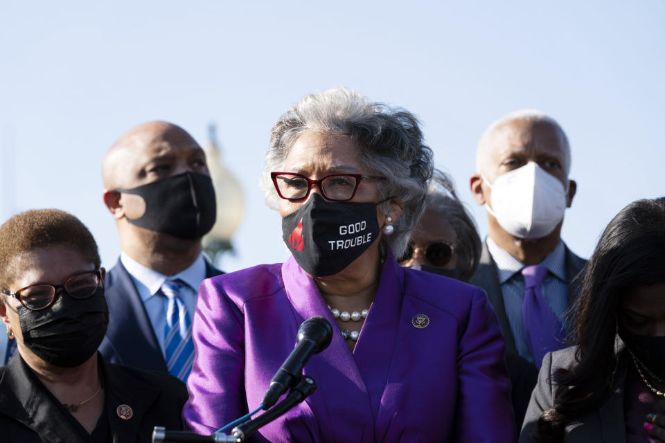 Rep. Joyce Beatty, D-Ohio, Chairwoman of the Congressional Black Caucus, accompanied by members of the Congressional Black Caucus, speaks on Capitol Hill in Washington, Tuesday, April 20, 2021, after the jury convicted former Minneapolis police officer Derek Chauvin of murder and manslaughter in the death of George Floyd. (AP Photo/Jose Luis Magana)