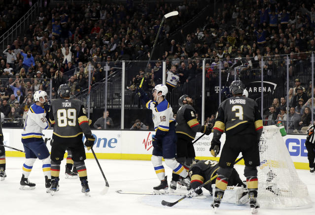 St. Louis Blues forward Zach Sanford (12) celebrates after scoring against the Vegas Golden Knights during the third period of an NHL hockey game Thursday, Feb. 13, 2020, in Las Vegas. The Golden Knights won 6-5 in overtime. (AP Photo/Isaac Brekken)