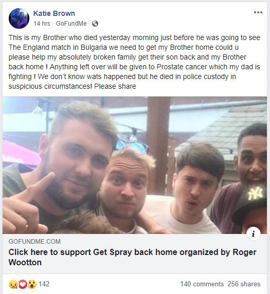Katie Brown set up a GoFundMe page link for her brother, a football fan who died while following England in Bulgaria.