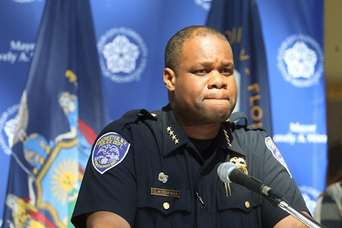 Rochester Police Chief La'Ron Singletary answers questions during a press conference Mayor Lovely Warren held Sunday, Sept. 6, 2020 . Warren, who expressed confidence in Singletary, talked about changes that will place and addressing some concerns from last night's rallies and protest held in memory of Daniel Prude.