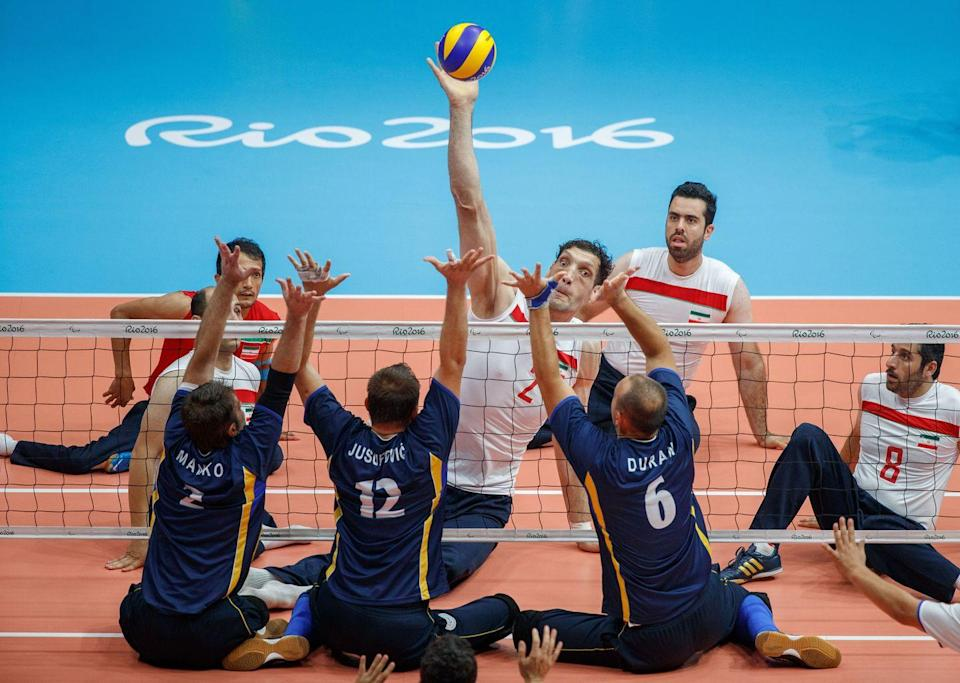 <p>As the name suggests, sitting volleyball is similar to Olympic volleyball, but brought down to ground level, so athletes must stay seated on the ground for a hit to count and the first team to 25 points wins the set.</p><p>The Iranian men's team have won six gold medals in this event, and with 8-foot-tall talisman Morteza Mehrzadselakjani on the team it's safe to assume that they'll be leaving the Games with medals draped around their necks this time too.</p>