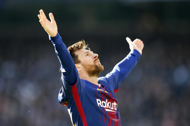 "<a class=""link rapid-noclick-resp"" href=""/soccer/players/lionel-messi/"" data-ylk=""slk:Lionel Messi"">Lionel Messi</a> celebrates in front of <a class=""link rapid-noclick-resp"" href=""/soccer/teams/real-madrid/"" data-ylk=""slk:Real Madrid"">Real Madrid</a> fans after the second <a class=""link rapid-noclick-resp"" href=""/soccer/teams/barcelona/"" data-ylk=""slk:Barcelona"">Barcelona</a> goal of Saturday's 3-0 Clasico win. (Getty)"