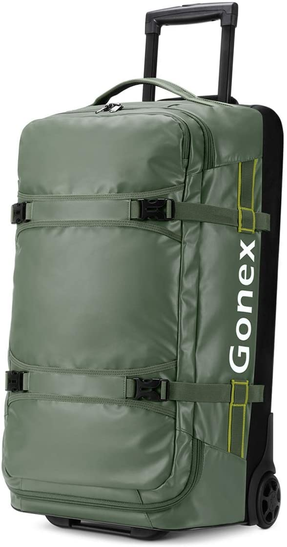 """<h2>Best Duffel on Wheels</h2><br><strong>Gonex Rolling Duffel Bag</strong><br>This roomy duffel on wheels is made of PVC fabric, which makes this both water-resistant and lightweight. It also includes several internal pockets for storing smaller items and a space-saving foldable bottom. <br><br><strong>The Hype:</strong> 4.5 out of 5 stars; 792 reviews on <a href=""""https://amzn.to/3wyl1pJ"""" rel=""""nofollow noopener"""" target=""""_blank"""" data-ylk=""""slk:Amazon"""" class=""""link rapid-noclick-resp"""">Amazon</a> <br><br><strong>Luggage Lovers Say:</strong> """"I like this bag for several reasons. One, it's large- I can fit a week's worth of clothes and shoes, but it's not huge and heavy because when I need to store it, it collapses down flat. Two, it has nice zipper compartments- some on the outside, and inside there's one on the left side that I can unzip and add smaller things like jewelry, toiletries, or undergarments. Third, it's water-resistant on the outside and the outer fabric feels durable, too. Lastly, the wheels are larger than I see on most rolling bags, so they can handle a bit rougher surface. Love this bag!"""" — Steph McC, Amazon Reviewers<br><br><strong>Gonex</strong> Rolling Duffle Bag with Wheels, 26 inch, $, available at <a href=""""https://amzn.to/3wyl1pJ"""" rel=""""nofollow noopener"""" target=""""_blank"""" data-ylk=""""slk:Amazon"""" class=""""link rapid-noclick-resp"""">Amazon</a>"""