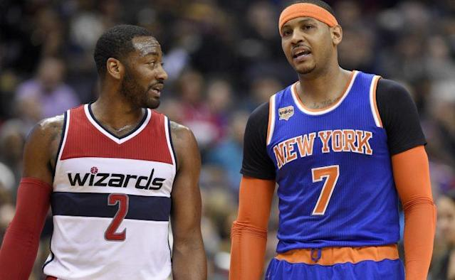 Anthony's loss to John Wall and the Wizards was the Knicks' 16th in 21 games. (AP)