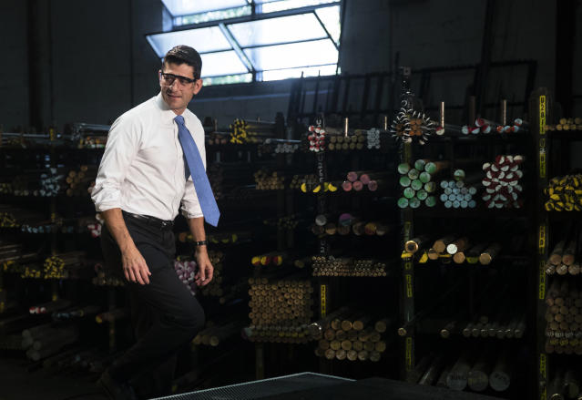 Speaker of the House Paul Ryan, R-Wis., steps onto a stage at the Pennsylvania Machine Works, a family-owned pipe-fitting manufacturer, in Aston, Pa., Sept. 28, 2017. (Photo: Matt Rourke/AP)