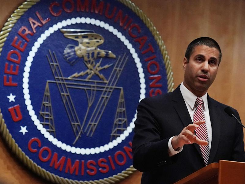 Federal Communications Commission Chairman Ajit Pai speaking to reporters after a meeting in December. Days before the false alert, Mr Pai announced an upgrade and expansion to the wireless emergency alert system: Alex Wong/Getty Images