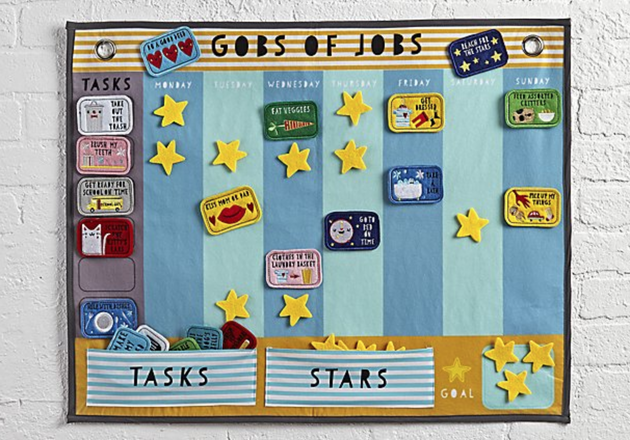 "The felt and velcro 'Gob of Jobs' calendar features various tasks, such as ""eaten veggies"" or ""taken out the bins"", that you can assign to family members throughout the week. It also has the option to give stars for good behaviour."