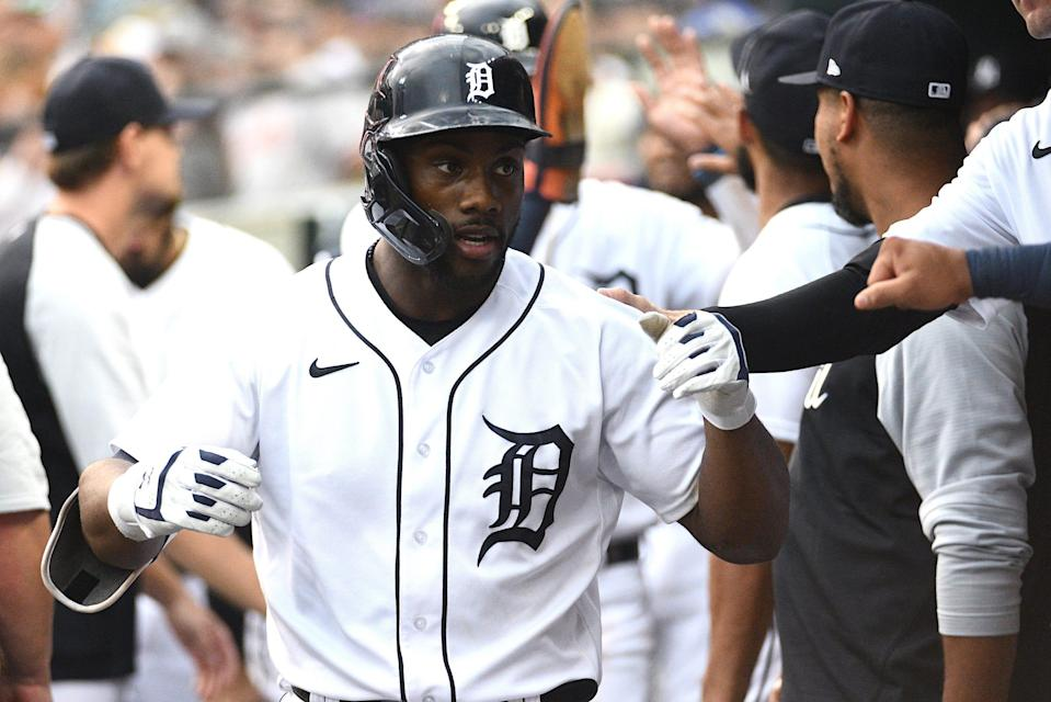 Tigers center fielder Akil Baddoo celebrates his home run during the third inning against the Rangers at Comerica Park on Monday, July 19, 2021.