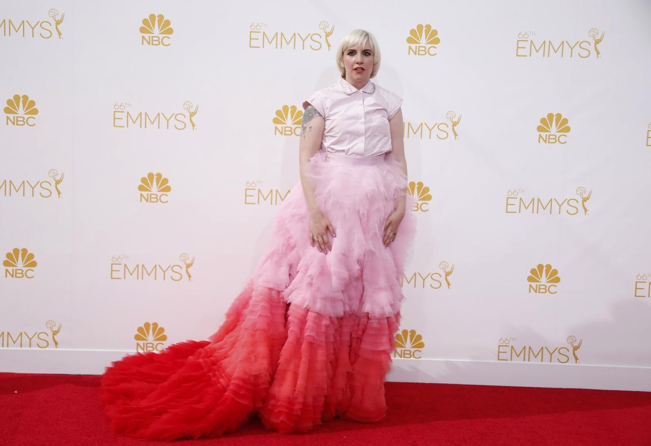 """Lena Dunham from the HBO series """"Girls"""" arrives at the 66th Primetime Emmy Awards in Los Angeles, California August 25, 2014. REUTERS/Lucy Nicholson (UNITED STATES -Tags: ENTERTAINMENT)(EMMYS-ARRIVALS)"""