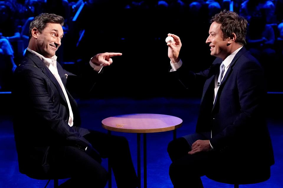 <p>John Hamm plays a round of Egg Russian Roulette with host Jimmy Fallon on the June 24 episode of <i>The Tonight Show</i> in N.Y.C. </p>